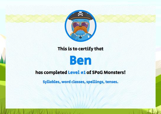 SPaG Monsters - Certificate